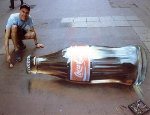 Coke-bottle-chalk-art