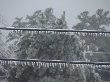 ice on electrical wires